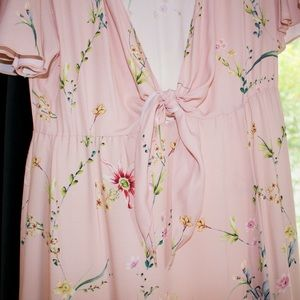 PALE PINK EXOTIC FLORAL FLOOR LENGTH DRESS